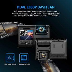 Pruveeo D30H Caméra de Tableau de Bord avec Vision Nocturne Infrarouge